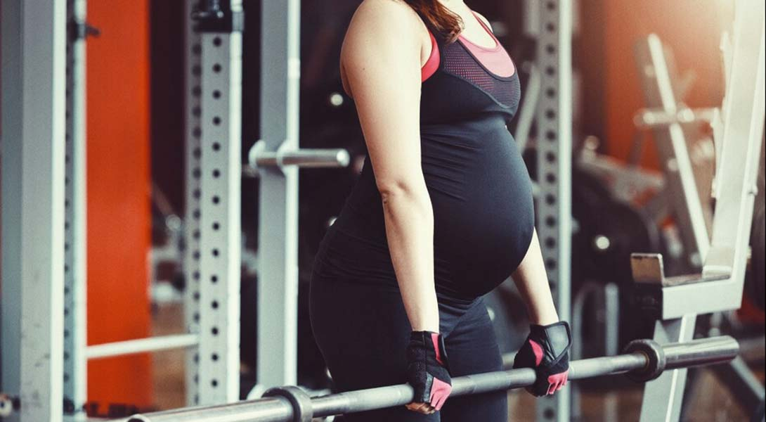 pregnant gym Muscle titjob
