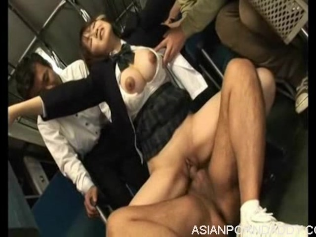 girl Orgasm brunette subway