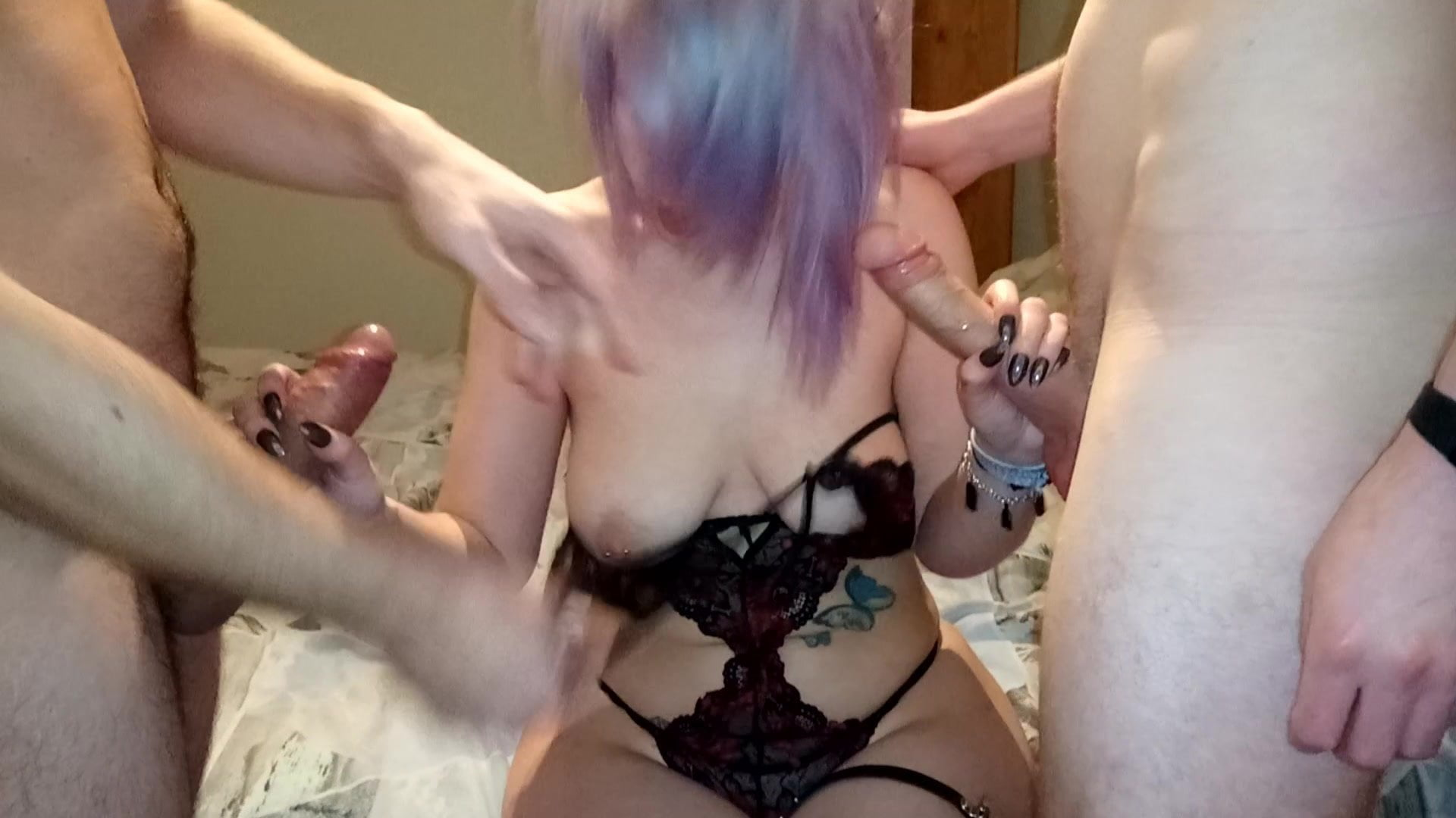 emo Double shared blowjob